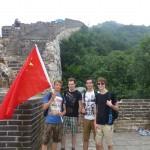 Chinese vlag gejat op de Chinese muur